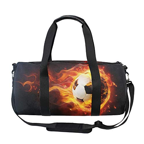 Flaming Football Gym Duffle Bag Drum tote Fitness Shoulder Handbag Messenger - Flaming Drums