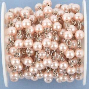Cadena de rosario rosa de 4 m, alambre de plata, perlas de ...
