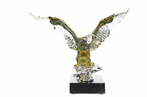 Handmade European Bronze Sculpture Hot Cast 24K Gold Silver American Eagle Figurine Display Figure Bronze Statue -EUSHO-459-Decor Collectible Gift (Silver Bronze Statue)