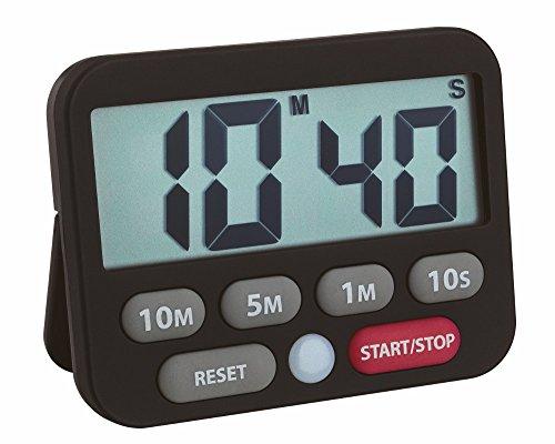TFA Dostmann Digitaler Timer und Stoppuhr, Kunststoff, Schwarz, 9 x 2 x 9 cm