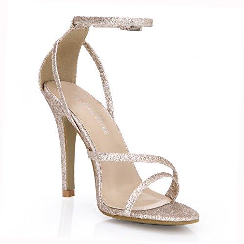 le de de avec un Nouveau Toe sandales femme spectacle shoes haut robe modèle sable talon Peep chaussures la Gold dîner 5q6Px8O6