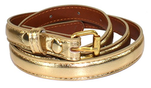 [Ted and Jack - Ted's Classic Skinny Leather Look Belt in Gold 42