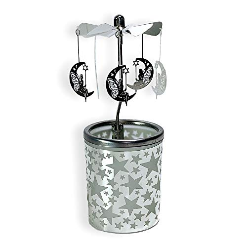 Holder Frosted Tealight Glass (BANBERRY DESIGNS Rotating Moons Candle Holder with Frosted Glass & Silver Metal Stars Scandinavian Design Hanging Moon & Pixies with Butterfly Wing)