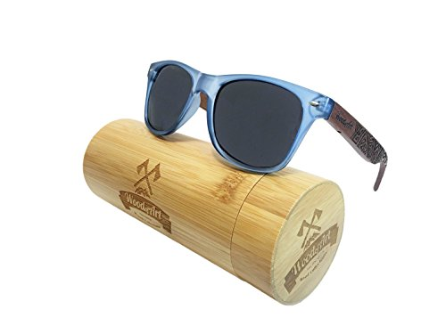 WoodofArt Wood Polarized Sunglasses For Women And Men Wayfarer Shades With Wooden Case (Transparent Blue, - Sunglasses Backpacking