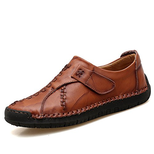 Cuir Respirant Chaussures Automne Véritable Hommes Printemps Red Mocassins Mode Casual Lumino Brown Appartements Classique 8q5wAxAa
