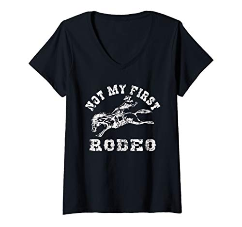 (Womens Not My First Rodeo V-Neck T-Shirt)