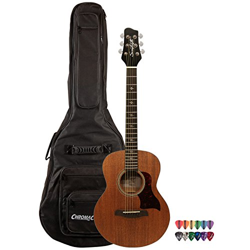 Sawtooth Mahogany Series Solid Mahogany Top Acoustic-Electric Mini Jumbo Guitar with Hard Case and Pick Sampler