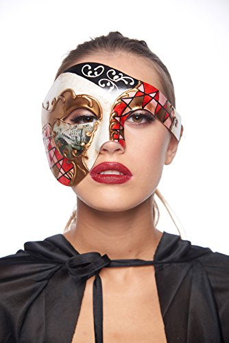 Gondola Costume (Gondola Half-Face Mask (Unisex; One Size Fits Most; Red))
