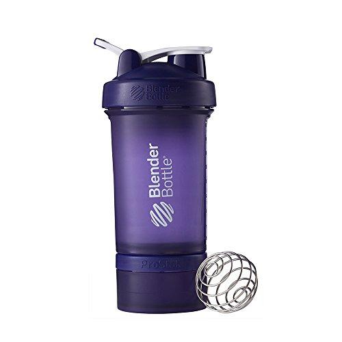 (BlenderBottle ProStak System with 22-Ounce Bottle and Twist n' Lock Storage, Purple/Purple)