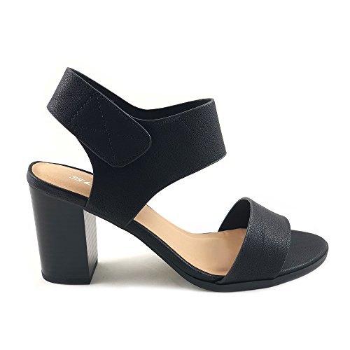 Wait Womens Open Toe Chunky Heel Ankle Strap Shoes Block High Heel Dress Sandals (9 M US, Black) ()