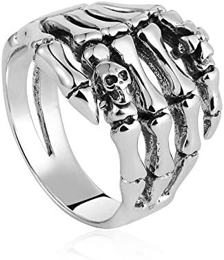 Beydodo 925 Sterling Silber Ring Herren Totenkopf Skelett Hand Punk Rock Partnerring Silber Ring