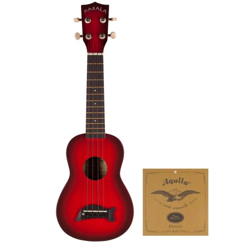 KALA Soprano Uke MK-SD/RDBURST Red Burst Kit w Aquila Soprano Uke Strings AQ-S