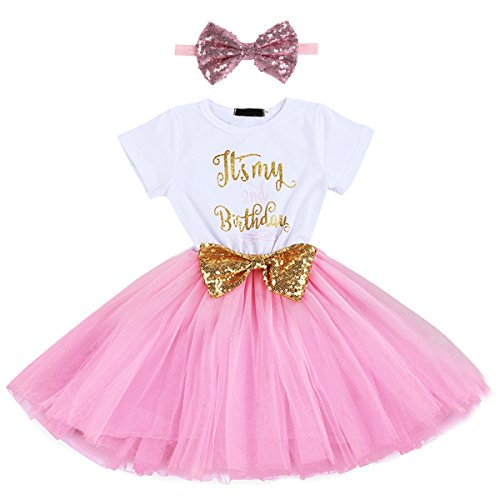 Baby Girls It's My 1st/2nd Birthday Cake Smash Outfits Shinny Printed Sequin Bow Tutu Princess Dress Clothes Set 2pcs Pink(2 Years) -