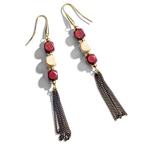 Earrings Long Wire Bead - ANDANTINO Vintage Long Tassel Earring Women's Hypoallergenic Earrings Wire Hook Earring with Colorful Wooden Beads (Red)