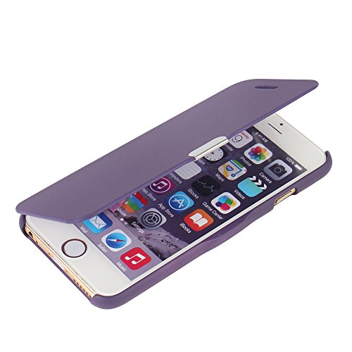 (iPhone 6 case, iPhone 6s case, MTRONXTM Magnetic Ultra Folio Flip Slim Leather Twill Case Cover Pouch for Apple iPhone 6 iPhone 6s - Purple(MG-PP))