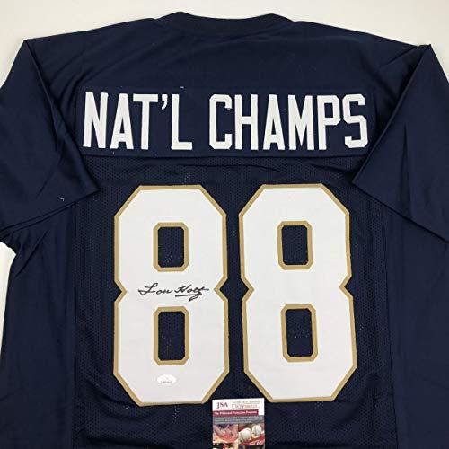 Autographed/Signed Lou Holtz 1988 National Champs Notre Dame Blue College Football Jersey JSA COA