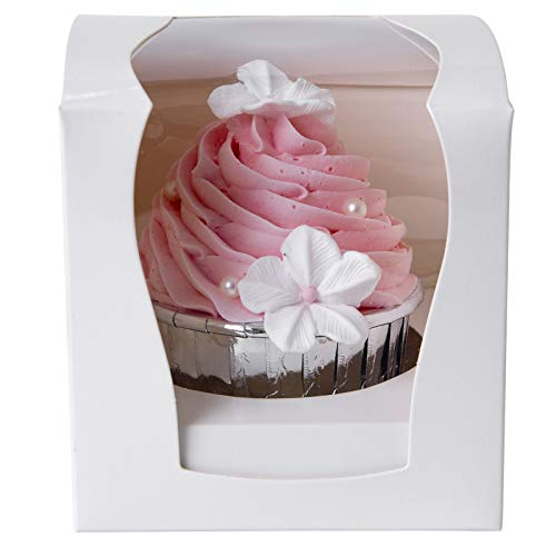 Cupcake Boxes Single 15 Count with Clear Window Inserts Handle for Wedding Cupcake Favor Boxes Easy Assembly (white)