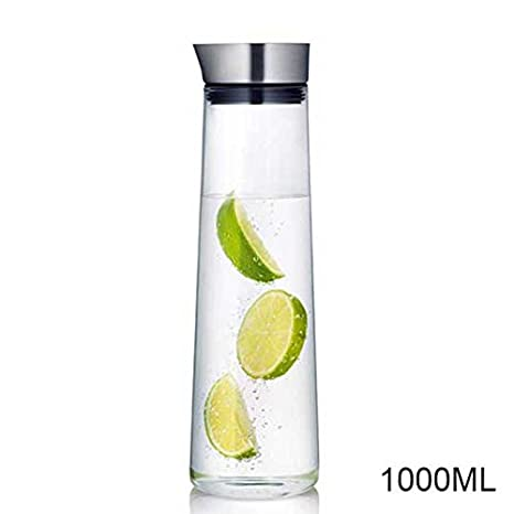 XHHOME 34oz / 51oz Big Capacity Thickened Glass Pitcher with Stainless Steel Lid Carafe for Hot/ Cold Water Juice (1000ml=34oz)