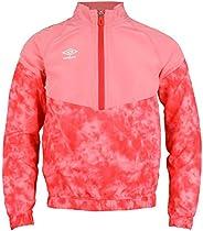 Umbro Big Girls Youth Half Zip Tye-Dye Pullover Windbreaker Jacket, Geranium Pink/Hibiscus