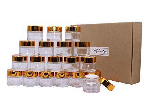 10g Cream - Wresty 10 Gram Glass Cosmetic Containers 19 Packs Round Sample Jars Cosmetic Cream Bottles Makeup Pots Container Vials With Gold Lids