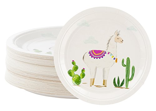 Disposable Plates - 80-Count Paper Plates, Llama Party Supplies for Appetizer, Lunch, Dinner, and Dessert, Kids Birthdays, 9 x 9 inches