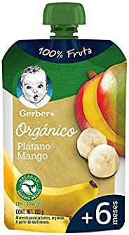 Gerber, Papilla GERBER Etapa 1 Plátano, Mango pouch, 100 gr, Paquete de 12