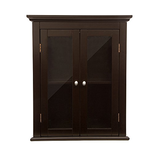 Glitzhome Wooden Wall Storage Cabinet with Glass Double Doors, Espresso