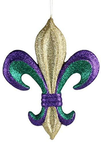 """10"""" Fleur De Lis Mardi Gras - Purple Gold Emerald Green Chrismtas Ornament Decorative Fleur"""