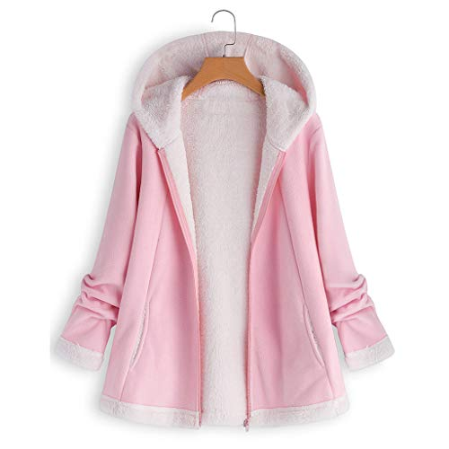 (ANJUNIE Warm Winter Jacket Women's Curved Hem Longline Faux Fur Sherpa Fleece Hoodie Coat(Pink,5XL))