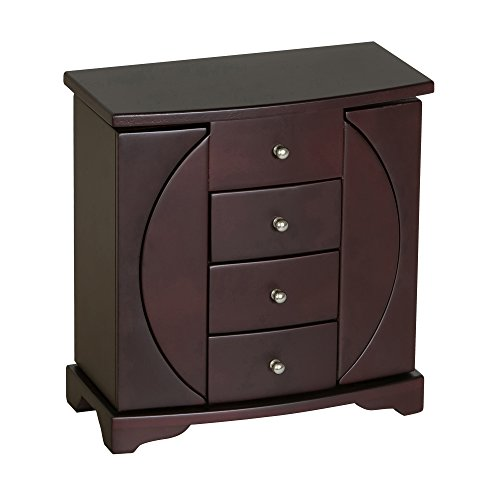 Mele & Co. Simone Wooden Jewelry Box (Mahogany Finish) - Mahogany Finish Jewelry Chest