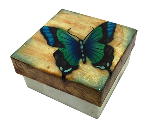 Kubla Craft Blue Green Butterfly Capiz Shell Keepsake Box, 3 Inches Square