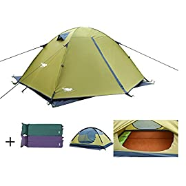 Luxe Tempo 2 Person Tents for Camping Backpacking 3-4 Season 2 Doors 2 Vestibules Blue 91 210T Polyester Taffeta full-coverage sag-free rainfly with all seams sealed resists UV degradation;Coated with waterproof Polyurethane with waterproof rating of 3500mm for reliable protection from wet weather or snow;Sturdy Oxford TENT FLOOR with all SEAMS TAPED provides excellent waterproofing and anti-abrasion protection for long time use 2. FREESTANDING design allows you to move the whole tent around to find the right spot;Equal length CORDED POLES,ANTI-SNAG stretchy pole sleeves,grommets and REFLECTIVE fly webbing buckle attachment makes assembly and setup simple and quick;REASONABLE PEAK HEIGHT allows you to sit straight inside;Detailed setup instructions included in stuff sack 3. 2 SIDE DOORS with durable and smooth SBS? zipper for easy entry for both backpackers;Adequate amount of NO-SEE-UM Mesh panels ensure good ventilation and dry weather view;2 GENEROUS VESTIBULES for gear storage can be partially open to maximize airflow; 2 large triangle MESH POUCHES inside the tent to keep your essentials at hand,4 REINFORCED PANELS at tent corners to sustain constant tension;2 ADJUSTABLE CEILING VENTS help to reduce condensation by letting out moist air