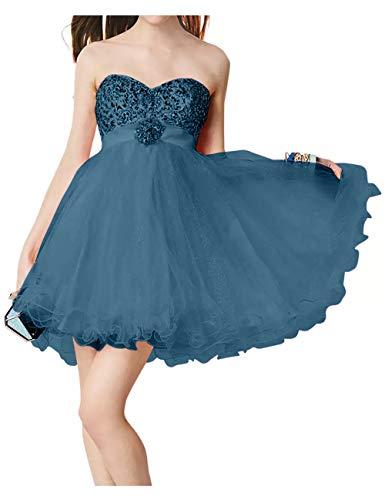 Rock Promkleider Mini Cocktailkleider Kurz Braut Linie Prinzess Suessig Blau La Dunkel Steine Rosa Partykleider A Marie qO8WwzU
