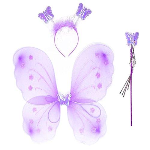 SODIAL(R) Girls Butterfly Fairy Angel Wings Wand Set Party Fancy Dress Purple ()