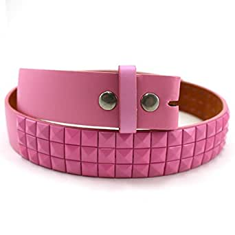 Enimay Solid Color Studded Belts With No Buckle Pink Small