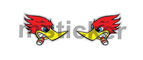2x JDM Racing Bird Woodpecker Sticker Decal Aufkleber Windows Bumper Car Truck Cartoon Laptop ()