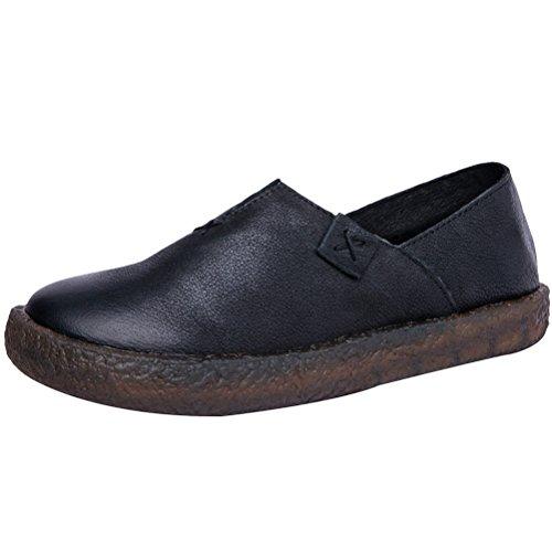 MatchLife Damen Geschlossene Ballerinas klassische Lederschuhe Loafers Slip-Ons Style1-Schwarz