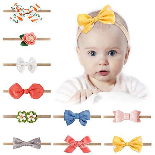 10pcs Baby Headbands, Bow Nylon Headbands, Spearmint Baby Girl Headbands Accessories for Newborn Toddler Girls