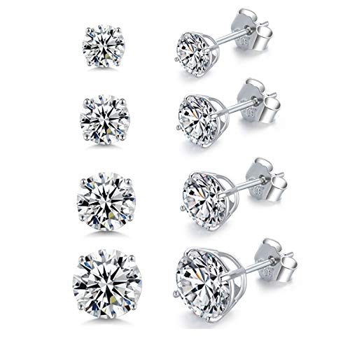 Sterling Silver Cubic Zirconia CZ Stud Earrings Round Cut 3mm 4mm 5mm 6mm Clear Crystal for Men Women 4 Sets