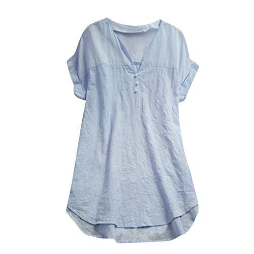- Summer Plus Size Tops Women Loose Linen Soild Button Long Splice Lace V Neck Cotton Linen t-Shirt Casual Blouse Tops