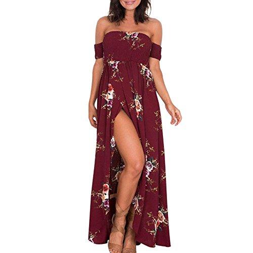 Women Floral Off The Shoulder Sundress Split Chiffon Evening Maxi Summer Print Dresses Wedding Party Chaofanjiancai Wine -