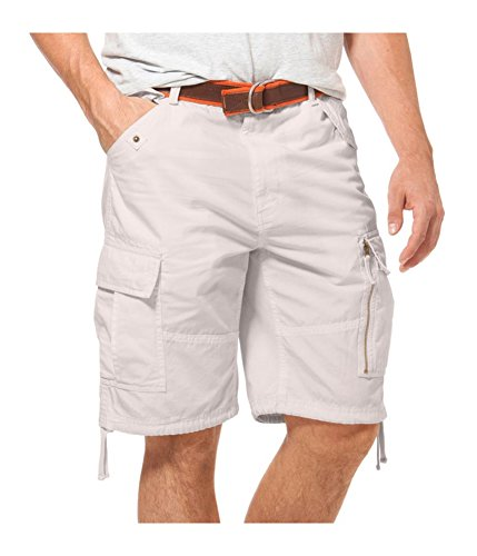 Chaps Mens Classic Fit Casual Cargo Shorts Off-White ()