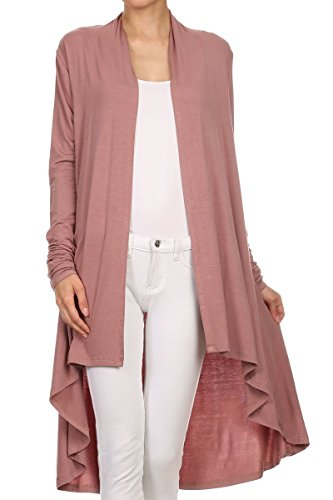 ReneeC. Women's Natural Bamboo Solid Open Front Draped Cardigan - Made in USA (Large, Rose)