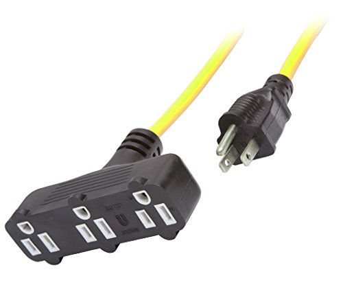 UnitedCable UCU201P/UCU204R Power Block Extension Cord SJTW with Orange-Black Plug and Receptacle, 50-Feet, Yellow by UnitedCable