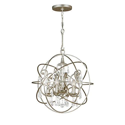 Crystorama 9026-OS-CL-MWP Crystal Accents Five Light Chandeliers from Solaris collection in Pwt, Nckl, B/S, Slvr.finish,