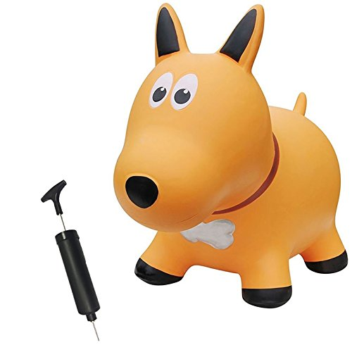 Farm Hoppers Award Winning Inflatable Bouncing Yellow Dog Plus Pump ()