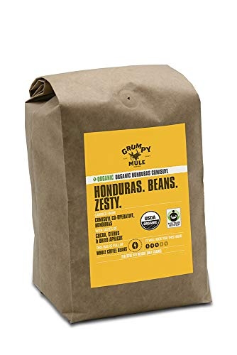 Grumpy Mule Organic Honduras Comisuyl Co-Operative Whole Bean Coffee - 2 pounds (907 grams). Fair Trade Certified.