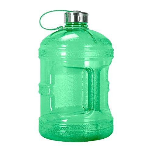Bottle Polycarbonate Durable (Geo Sports Bottles GEO 1 Gallon (128oz) BPA Free Reusable Leak-Proof Drinking Water Bottle w/48mm Stainless Steel (Green))