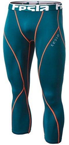 Tesla TM-YUC32-FGN_Small Men's Compression Capri Shorts Baselayer Cool Dry Sports Tights YUC32
