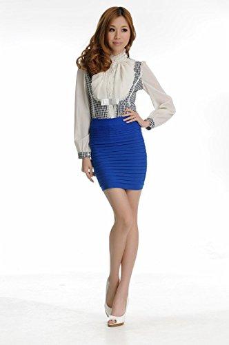 Moulante Minetom Sexy Package Bleu Plisse Haute Taille Femme Courte Jupes Extensible Mini Hanche Royal qHHXwSr